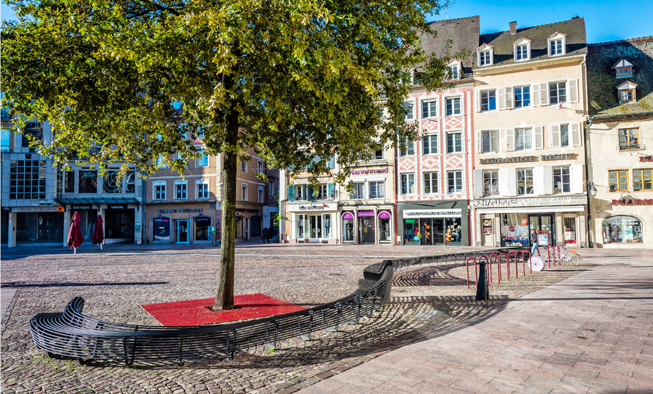 Circular Bench At The Heart Of Mulhouse Street Furniture
