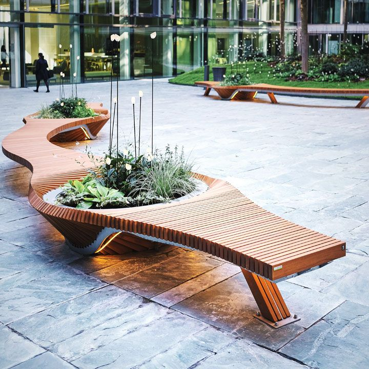 Mobilier urbain - design - banc - bench - vegetal - bois - wood - Tricoire - metal - mobilier - urbain - outdoor - street furniture