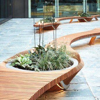 Mobilier urbain - design - banc - bench - vegetal - bois - wood - Tricoire - metal - mobilier - urbain - outdoor - street furniture