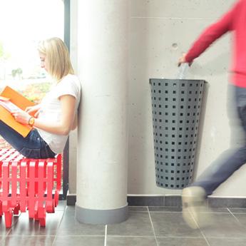 Metal public trash can