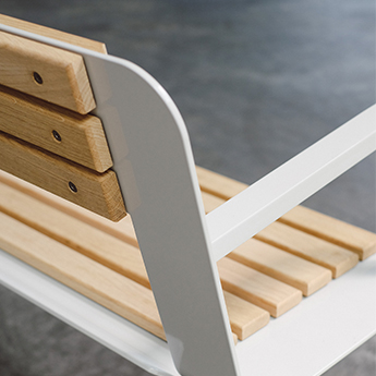 Street Furniture Wood and Metal Bench