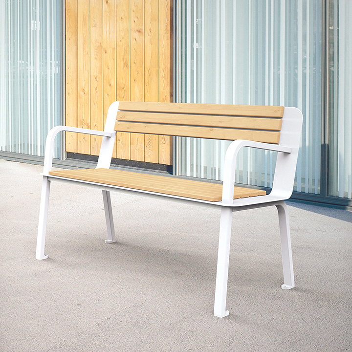 Banc design en bois et en métal