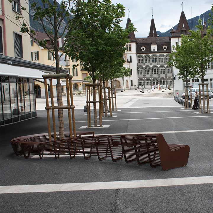 Metal Circular Bench installed in Sierre- Switzerland.