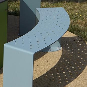 Aménagement parc banc urbain sans dossier