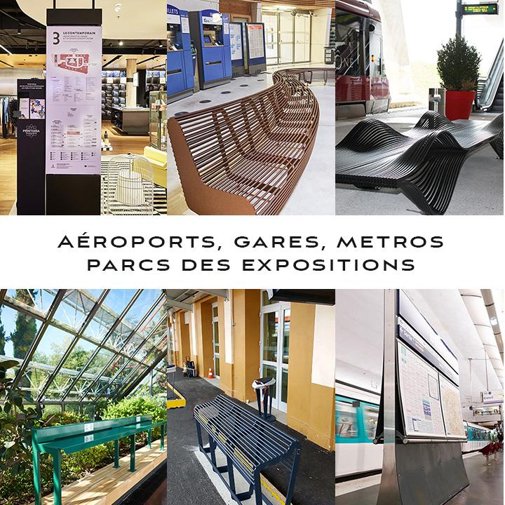 Grand choix de mobilier pour l'aménagement de gares, stations de métro, parc d'exposition, aéroport au catalogue ou sur mesure. En direct du fabricant.
